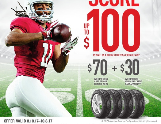 Score up to $100 Bridgestone Rebate